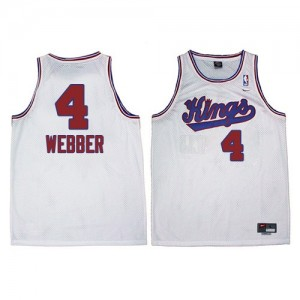 Hombre Camiseta Chris Webber #4 Sacramento Kings Adidas New Throwback Blanco Authentic
