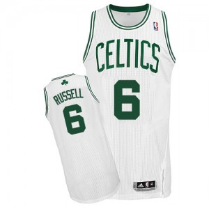 Camiseta Authentic Bill Russell #6 Boston Celtics Home Blanco - Hombre