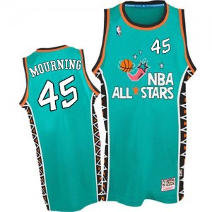 Hombre Camiseta Alonzo Mourning #45 Miami Heat Mitchell and Ness 1996 All Star Throwback Azul claro Authentic