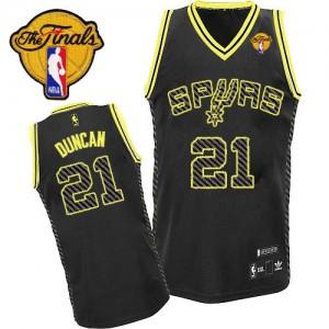 San Antonio Spurs Adidas Electricity Fashion Finals Patch Negro Authentic Camiseta de la NBA - Tim Duncan #21 - Hombre