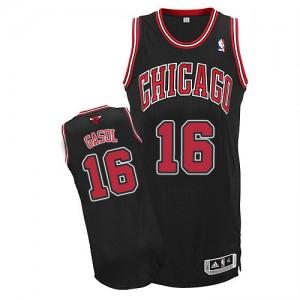 Chicago Bulls Adidas Alternate Negro Authentic Camiseta de la NBA - Pau Gasol #16 - Adolescentes