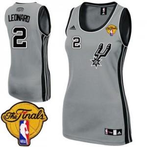 Camiseta NBA Authentic Kawhi Leonard #2 Alternate Finals Patch Gris plateado - San Antonio Spurs - Mujer