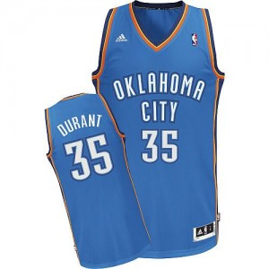 Hombre Camiseta Kevin Durant #35 Oklahoma City Thunder Adidas Road Azul real Swingman