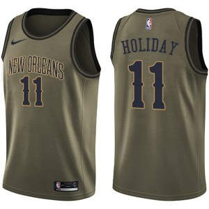 Camiseta Swingman Jrue Holiday #11 New Orleans Pelicans Salute To Service Verde - Hombre