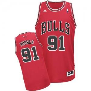 Camiseta NBA Chicago Bulls Dennis Rodman #91 Road Adidas Rojo Swingman - Hombre