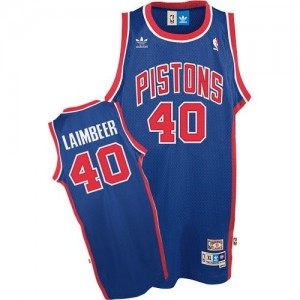 Hombre Camiseta Bill Laimbeer #40 Detroit Pistons Adidas Throwback Azul Authentic