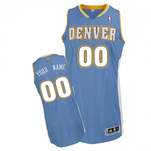 Hombre Camiseta Authentic Personalizadas Denver Nuggets Adidas Road Azul claro