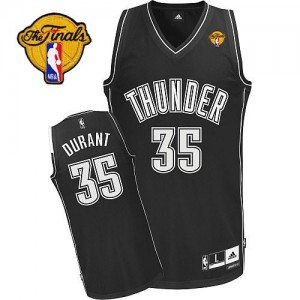 Camiseta Authentic Kevin Durant #35 Oklahoma City Thunder Finals Patch Blanco negro - Hombre