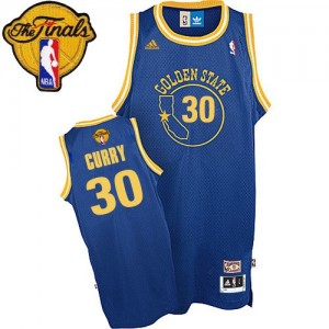 Camisetas Baloncesto Hombre NBA Golden State Warriors Throwback 2015 The Finals Patch Authentic Stephen Curry #30 Azul real