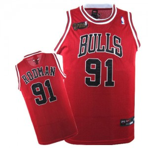Camiseta NBA Chicago Bulls Dennis Rodman #91 Champions Patch Nike Rojo Authentic - Hombre