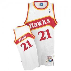 Camiseta NBA Throwback Atlanta Hawks Blanco Authentic - Hombre - #21 Dominique Wilkins