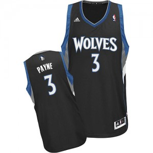 Minnesota Timberwolves Adidas Alternate Negro Swingman Camiseta de la NBA - Adreian Payne #3 - Hombre