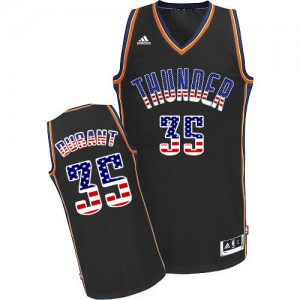 Camisetas Baloncesto Hombre NBA Oklahoma City Thunder USA Flag Fashion Authentic Kevin Durant #35 Negro