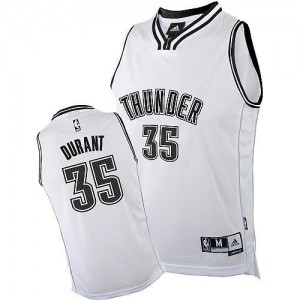 Camiseta NBA Oklahoma City Thunder Kevin Durant #35 Adidas Blanco Authentic - Hombre