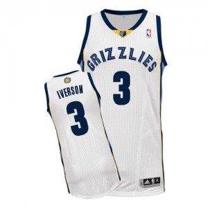 Camiseta Authentic Allen Iverson #3 Memphis Grizzlies Home Blanco - Hombre