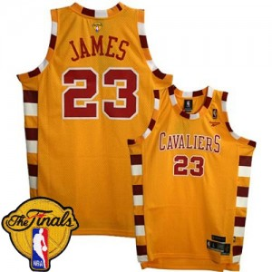 Camisetas Baloncesto Hombre NBA Cleveland Cavaliers Throwback Classic 2015 The Finals Patch Swingman LeBron James #23 Oro