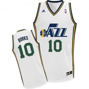 Camiseta NBA Utah Jazz Alec Burks #10 Home Adidas Blanco Swingman - Hombre