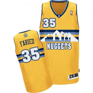 Camiseta NBA Denver Nuggets Kenneth Faried #35 Alternate Adidas Oro Authentic - Hombre