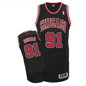 Camiseta NBA Chicago Bulls Dennis Rodman #91 Alternate Adidas Negro Authentic - Hombre