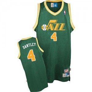 Camiseta NBA Utah Jazz Adrian Dantley #4 Throwback Adidas Verde Authentic - Hombre