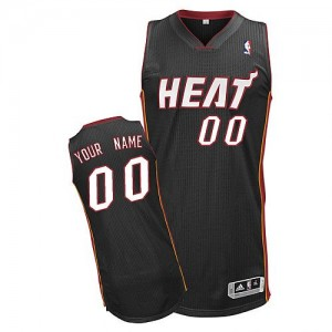 Camiseta Authentic Personalizadas Miami Heat Road Negro - Adolescentes