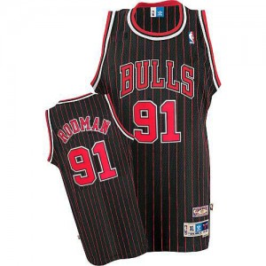 Camiseta NBA Chicago Bulls Dennis Rodman #91 Throwback Adidas Negro / Rojo Authentic - Hombre