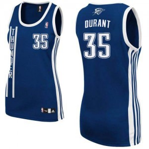 Oklahoma City Thunder Adidas Alternate Azul marino Authentic Camiseta de la NBA - Kevin Durant #35 - Mujer