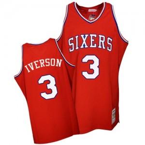 Camiseta NBA Throwback Philadelphia 76ers Rojo Authentic - Hombre - #3 Allen Iverson