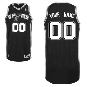Hombre Camiseta Authentic Personalizadas San Antonio Spurs Adidas Road Negro