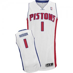 Camiseta NBA Detroit Pistons Allen Iverson #1 Home Adidas Blanco Authentic - Hombre