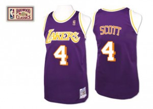 Los Angeles Lakers Mitchell and Ness Throwback Púrpura Swingman Camiseta de la NBA - Byron Scott #4 - Hombre