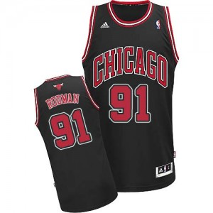 Camiseta NBA Chicago Bulls Dennis Rodman #91 Alternate Adidas Negro Swingman - Hombre
