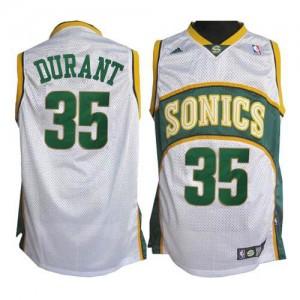 Hombre Camiseta Kevin Durant #35 Oklahoma City Thunder Adidas SuperSonics Blanco Swingman