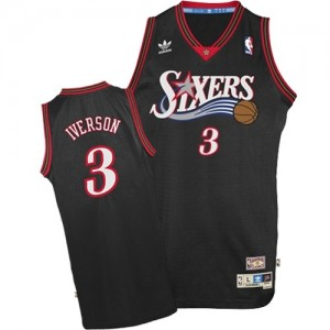 Camiseta NBA 1997-2009 Throwback Philadelphia 76ers Negro Authentic - Hombre - #3 Allen Iverson
