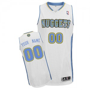 Hombre Camiseta Authentic Personalizadas Denver Nuggets Adidas Home Blanco