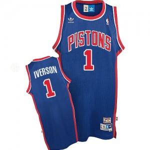 Hombre Camiseta Allen Iverson #1 Detroit Pistons Adidas Throwback Azul Swingman