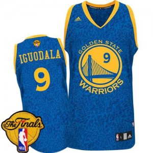 Camisetas Baloncesto Hombre NBA Golden State Warriors Crazy Light 2015 The Finals Patch Authentic Andre Iguodala #9 Azul