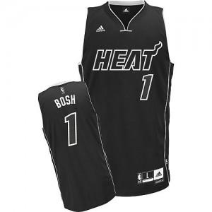 Camiseta NBA Shadow Miami Heat Negro Swingman - Hombre - #1 Chris Bosh