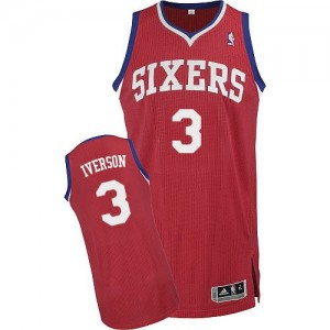Camiseta NBA Road Philadelphia 76ers Rojo Authentic - Hombre - #3 Allen Iverson