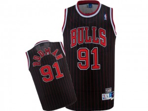 Camiseta NBA Chicago Bulls Dennis Rodman #91 Throwback Nike Negro / Rojo Authentic - Hombre