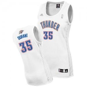 Oklahoma City Thunder Adidas Home Blanco Swingman Camiseta de la NBA - Kevin Durant #35 - Mujer