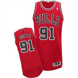 Camiseta NBA Chicago Bulls Dennis Rodman #91 Road Adidas Rojo Authentic - Hombre