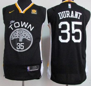Camiseta Stitched Golden State Warriors Negro Swingman - Hombre - #35 Kevin Durant