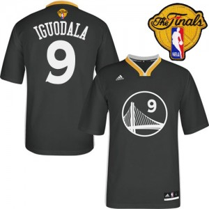 Camiseta NBA Alternate 2015 The Finals Patch Golden State Warriors Negro Authentic - Hombre - #9 Andre Iguodala