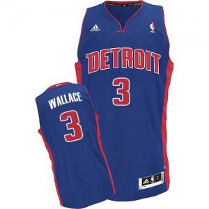 Hombre Camiseta Ben Wallace #3 Detroit Pistons Adidas Road Azul real Swingman