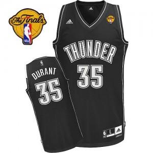 Hombre Camiseta Kevin Durant #35 Oklahoma City Thunder Adidas Finals Patch Blanco negro Swingman
