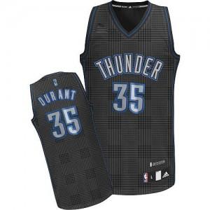 Oklahoma City Thunder Adidas Rhythm Fashion Negro Swingman Camiseta de la NBA - Kevin Durant #35 - Mujer