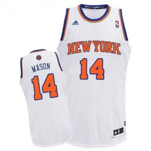 Camiseta NBA New York Knicks Anthony Mason #14 Home Adidas Blanco Swingman - Hombre