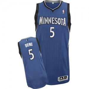 Minnesota Timberwolves Adidas Road Azul pizarra Authentic Camiseta de la NBA - Gorgui Dieng #5 - Hombre