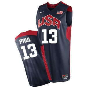 Hombre Camiseta Chris Paul #13 Team USA Nike 2012 Olympics Azul marino Authentic